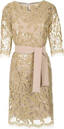 Gloria Coelho Vestido reto renda bordado - Metálico