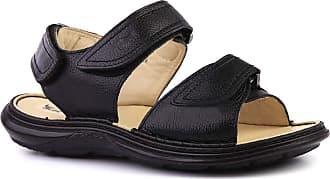 Doctor Shoes Antistaffa Sandália Masculina 917301 em Couro Floater Preto Doctor Shoes-Preto-39
