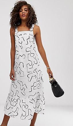 Asos Tall ASOS DESIGN Tall - Sommerkleid mit Schößchen und modernem Print-Mehrfarbig