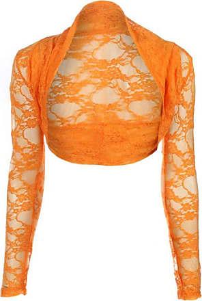 Top Fashion18 Womens Long Sleeve Lace Floral Ladies Cropped Short Shrug Bolero Cardigan Top 8-22 Orange