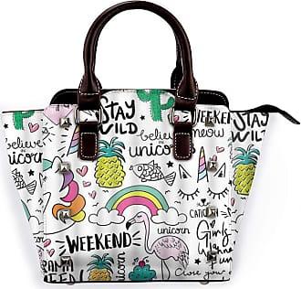 Browncin Rainbow Unicorn Pineapple Cactus Mermaid Heart Creative Colorful Art Drawing Detachable Fashion Trend Ladies Handbag Shoulder Bag Messenger Bags