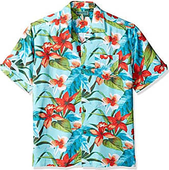 681a43fb Cubavera Mens Short Sleeve 100% Rayon Tropical Floral Print Cuban Camp Shirt,  Blue Radiance