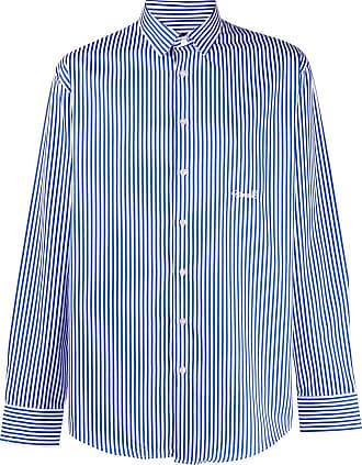 Frankie Morello Camisa listrada azul de algodão