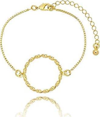 Kitbox Pulseira Feminina com Detalhe Circular folheada em Ouro 18k