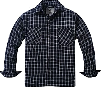 WenVen Mens Plaid Flannel Thermal Lined Button Down Shirt Jacket Shacket Blue White Medium