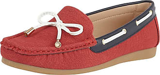 Lotus Hannah Womens Moccasin Boat Shoes 3 UK Red