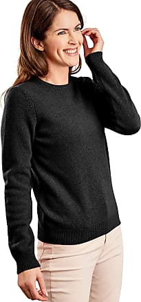 WoolOvers Womens Lambswool Crew Neck Jumper Black, XL