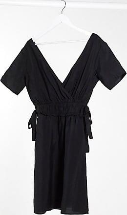 Object linen mini dress with tie sides in black-Multi