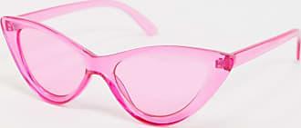 Asos Occhiali alla moda a occhi di gatto smussati con lenti e montatura rosa con cristalli