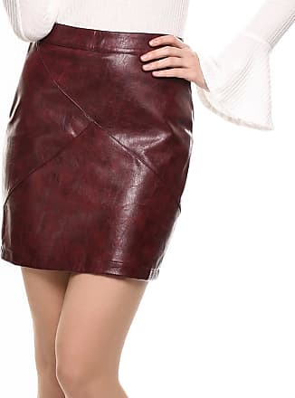 Zeagoo Women Straight Faux Leather Skirt High Waisted Slim Fit Mini Pencil Skirt Wine Red