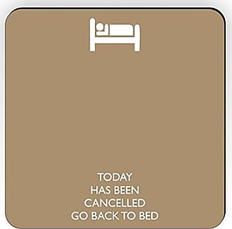 Rikki Knight Rikki Knight Today Has Been Cancelled Go Back to Bed Design Square Fridge Magnet, Tan