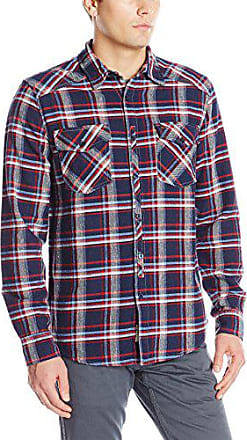 Silver Jeans Co Mens Classic Semi Fitted Plaid Botton Down Shirt