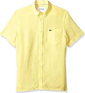 826eb0735 Lacoste Mens Short Sleeve Solid Linen Button Down Collar Reg Fit Woven Shirt
