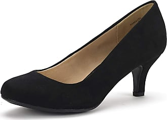 Dream Pairs Womens Slip On Low Kitten Heels Round Toe Pump Court Shoes Luvly Black Suede Size 6.5 US/ 4.5 UK
