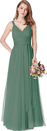 Ever-pretty Womens Elegant V Neck Empire Waist Floor Length Tulle A Line Evening Party Gowns Dresses Green 24UK
