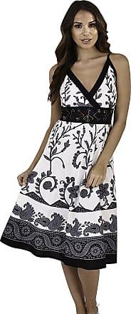 Lora Dora Womens Summer Dress V Neck Flower Stems Black Size Medium