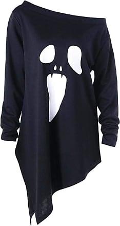 NPRADLA Womens Asymmetrical Long Shirt Halloween Long Sleeve Ghost Print Sweatshirt Pullover Tops Blouse Black