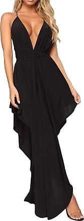 QIYUN.Z Women Black White Long Maxi Dress Spaghetti Strap Loose Beach Elegant Dresses Black XL