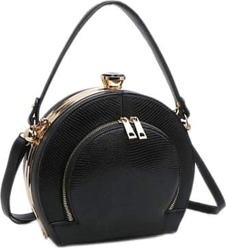 Girly HandBags Girly HandBags Womens Retro Compact Top Handle Bag - Black
