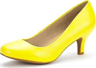 Dream Pairs Womens Slip On Low Kitten Heels Round Toe Pump Court Shoes Luvly Yellow Pu Size 6.5 US/ 4.5 UK