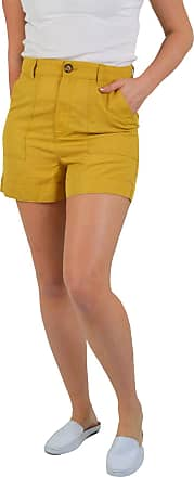 White Label Marks & Spencer Womens Heavy Soft Linen Summer Shorts with Pockets Mustard Size 14