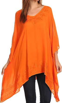 Sakkas K2022S - Wren Lightweight Circle Poncho Top Blouse with Detailed Embroidery - Orange - OS