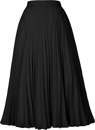 Grace Karin Elegant Wedding Guest Skirt for Women Summer High Waist A-Line Ruffled Pleated Casual Skirt Black M