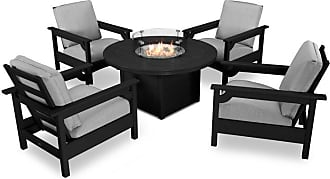 POLYWOOD Outdoor POLYWOOD Club 5 Piece Conversation Set with Fire Pit Table Antique Beige - PWS416-2-TE8322