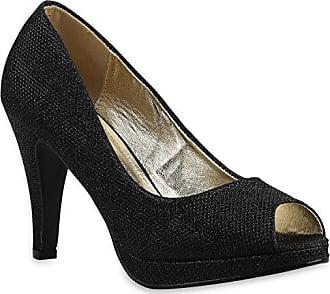 Damen Glitzer High Heels Pumps Plateau Vorne Party Stilettos