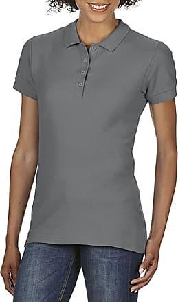 Gildan Womens Gildan Ladies Softstyle Double Pique Short Sleeve Polo Shirt Top Charcoal Large