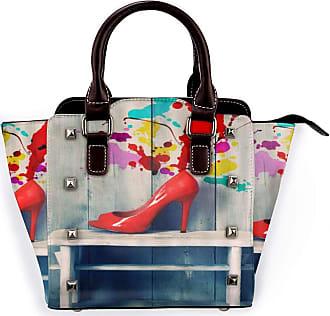 Browncin Red High Heel Colorful Watercolor On Wooden Board Wood Detachable Fashion Trend Ladies Handbag Shoulder Bag Messenger Bags
