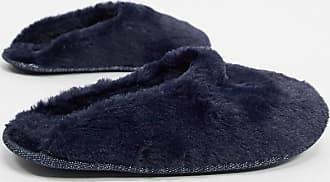 Hunkemöller fake fur mule slipper in navy