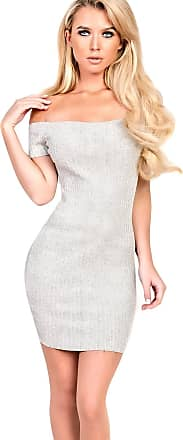Ikrush Vivian Knitted Bodycon Dress Grey UK M