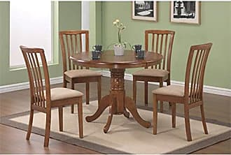 Coaster Fine Furniture Coaster Home Furnishings Brannan 5-Piece Round Pedestal Table Dining Set Light Brown and Amber