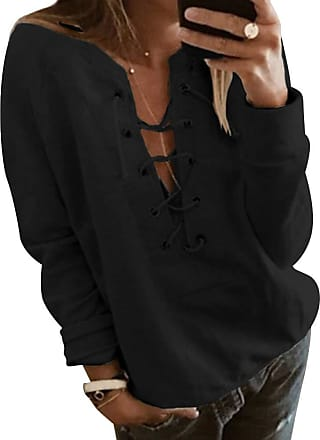 Dresswel Women Sexy Lace Up V Neck Long Sleeve Tops Pullover Solid Color Shirts Jumpers Blouse Black