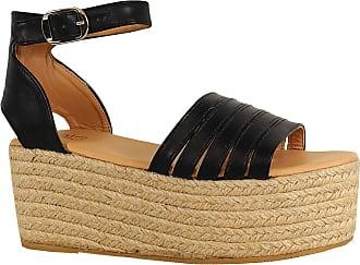 Yoki Womens Harmony Wedge Sandal, Black, 5.5 UK