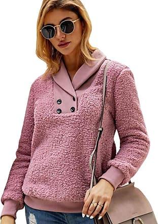 YYW Women Fashion Casual Lapel Fleece Sherpa Pullover Sweatshirt Coat Winter Outwear with Pockets (Pink,M)