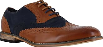 Generic Classics Mens Faux Suede Smart Formal Casual Lace Up Brogues Shoes UK10 Tan/Navy