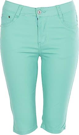 Noroze Womens Cotton Combat Chino Capri Cargo Shorts (Mint, 2XL)