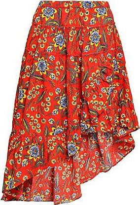 Joie Joie Woman Floral-print Cotton-poplin Skirt Bright Orange Size M