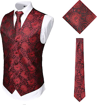 Whatlees Mens Classic Paisley Floral Jacquard Waistcoat & Necktie and Pocket Square Vest Suit Set for Party Wedding Burgundy 02010008XBurgundy+XXL
