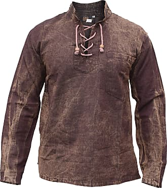 Gheri Mens Hemp Cotton Lace Up V Neck Grandad Shirt Stone Washed Brown Small