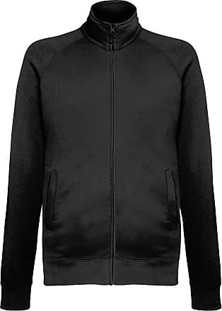 Fruit Of The Loom Mens Lightweight Full Zip Sweatshirt Jacket (2XL) (Black)