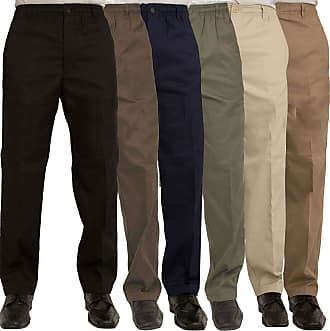 Islander Fashions Mens Rugby Trousers Adult Full Elasticated Waist Casual Wear Smart Pocket Pants Khaki 36 Waist/29 Inside Leg Length