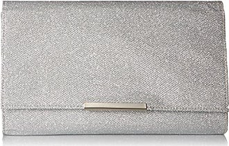 Jessica McClintock Womens Nora Large Envelope Glitter Clutch, Silver, One Size