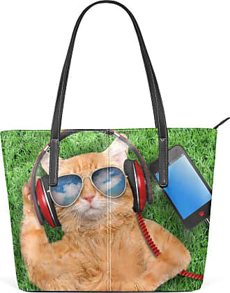 NaiiaN for Women Girls Ladies Student Cup Light Weight Strap Handbags Tote Bag Purse Shopping Leather Cat In Headphone Shoulder Bags