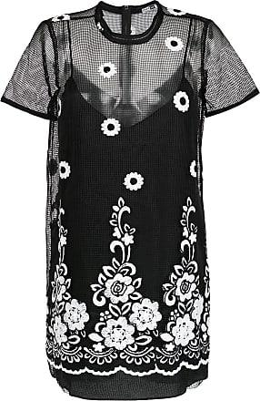 Pop Up Store Vestido bordado em tela - Preto