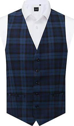 Dobell Mens Blue Tartan Waistcoat Regular Fit-2XL (50-52in)