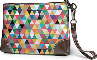 GLGFashion Womens Leather Wristlet Clutch Wallet Color Triangle Pattern Storage Purse With Strap Zipper Pouch