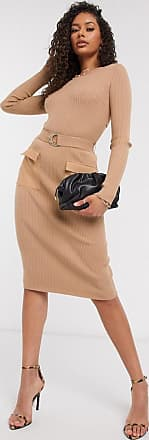 4th & Reckless belted midi skirt co ord in camel-Beige